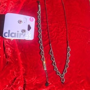 NWOT Clair's Pink Red Rhinestone Necklace Earrings
